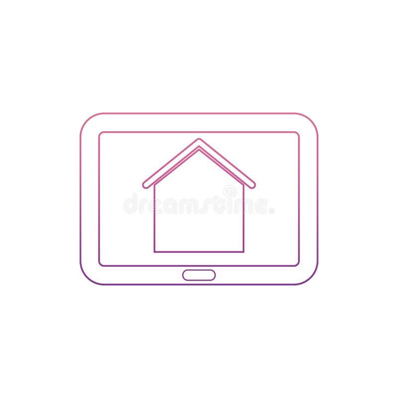 片剂screenicon的房子在Nolan样式 一网汇集象可以为UI, UX使用 向量例证
