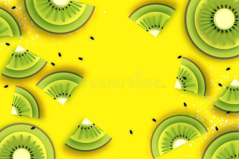 片式猕猴桃 顶视图 在纸裁减样式的猕猴桃超级夏天 Origami水多的成熟绿色切片 在黄色的健康食物 向量例证