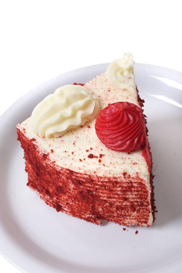 片式红色天鹅绒蛋糕 库存图片