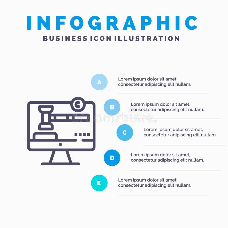 版权、版权、数字、法律行图标,包含5步演示信息图形背景 库存例证