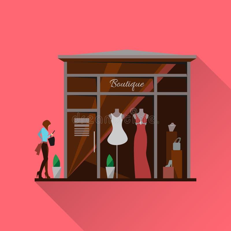 给版权穿衣的品牌没有对象存储 男人和妇女传染媒介精品店 库存例证