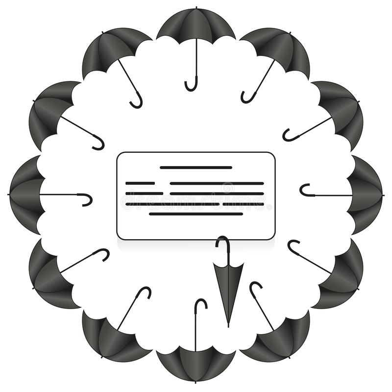 牌与伞的圈子框架用在白色背景的不同的位置 库存例证