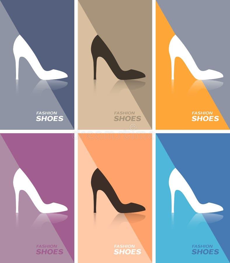 价牌或网横幅或名片与女子皮鞋上的高后跟穿上鞋子象 库存例证