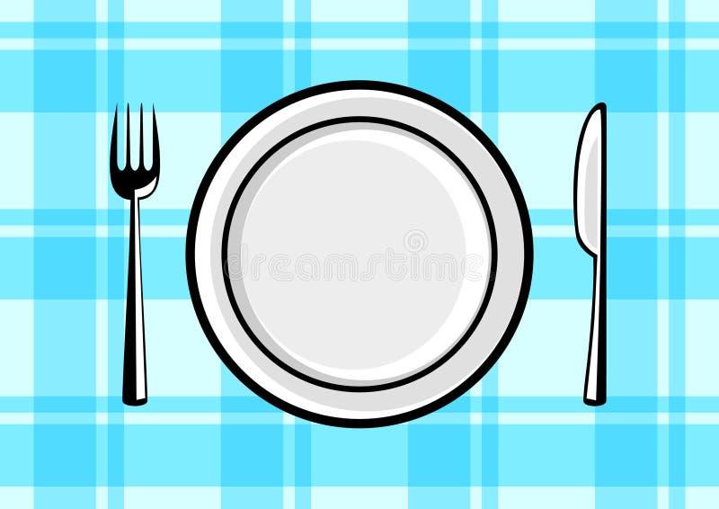 牌照和刀叉餐具 皇族释放例证