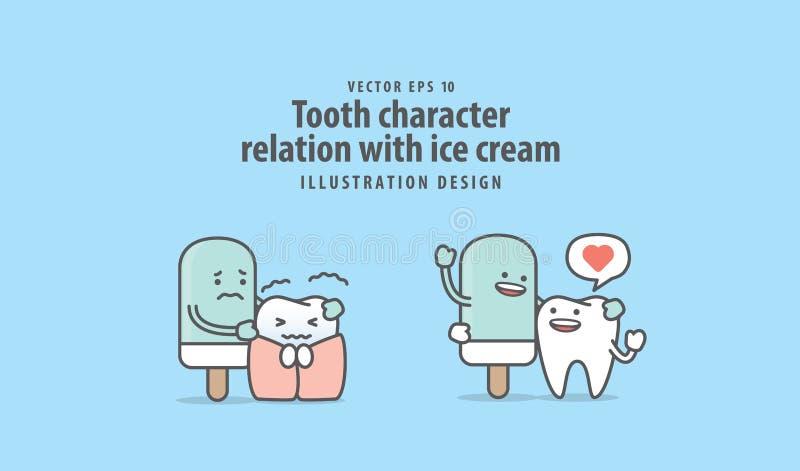 牙与冰淇凌例证传染媒介的字符联系在b 库存例证