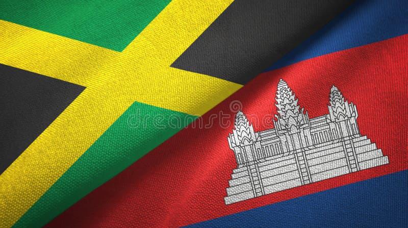 牙买加和柬埔寨两旗子纺织品布料,织品纹理 库存例证