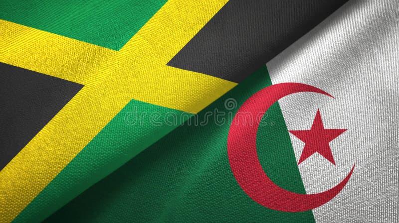 牙买加和阿尔及利亚两旗子纺织品布料,织品纹理 库存例证