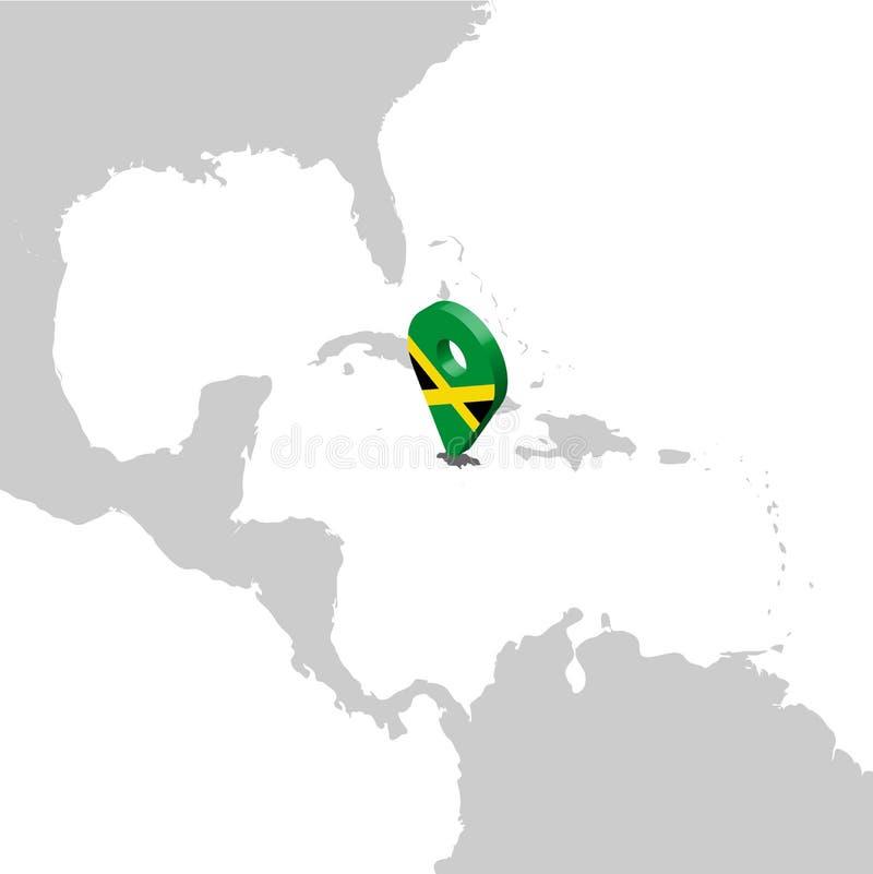 牙买加在地图中美洲的定位图 3d牙买加旗子地图标志地点别针 牙买加的优质地图 库存例证