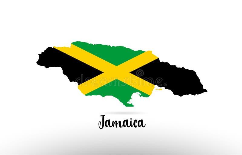 牙买加在地图等高设计象商标里面的国旗 库存例证