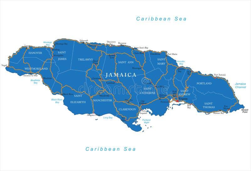 牙买加地图 库存例证