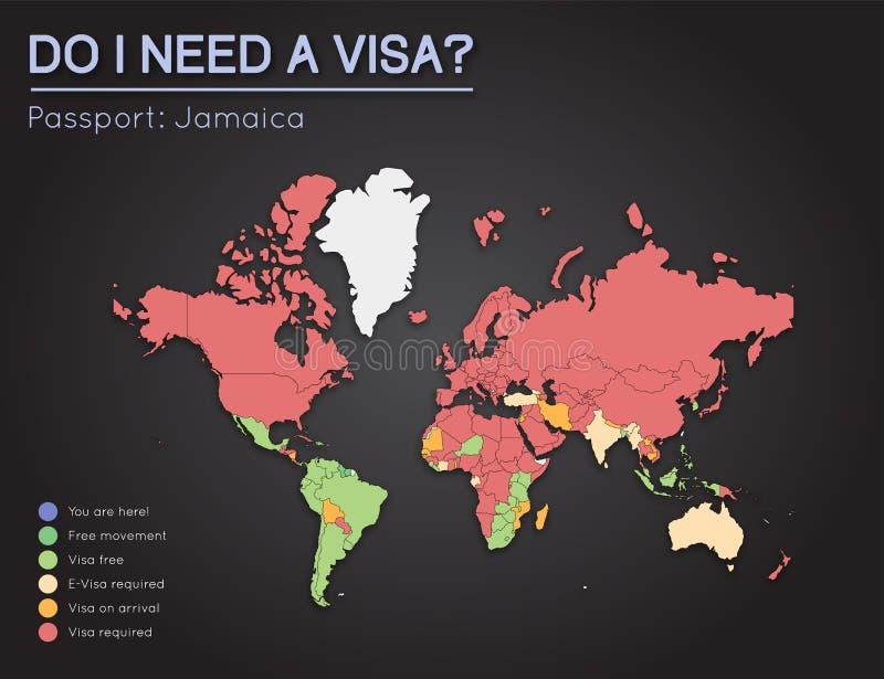 牙买加护照持有人的签证信息 库存例证