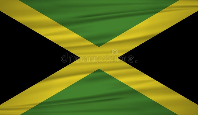 牙买加旗子传染媒介 导航牙买加blowig旗子在风的 牙买加的国旗波浪丝绸背景的 库存例证
