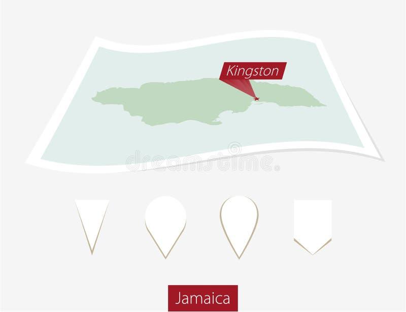 牙买加的弯曲的纸地图有首都的金斯敦灰色Backgr的 库存例证