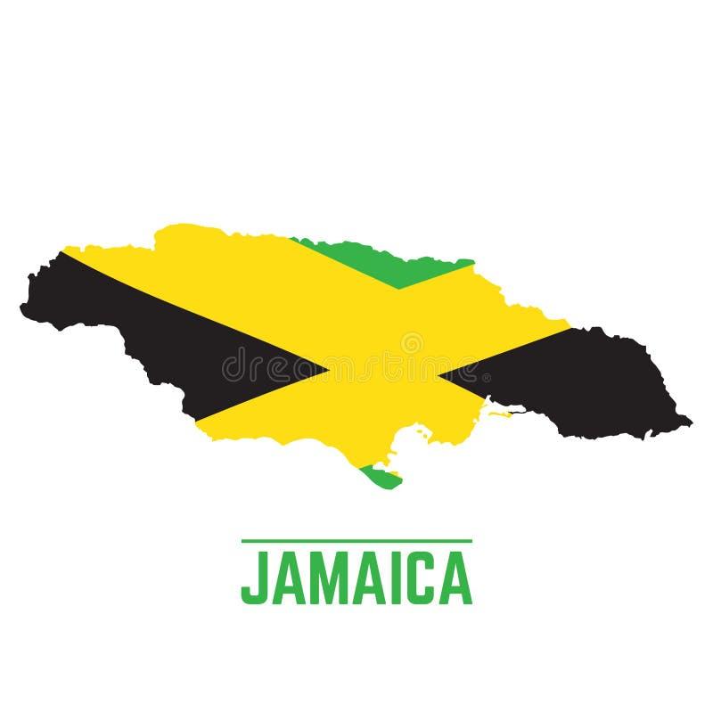 牙买加的旗子和地图 库存例证