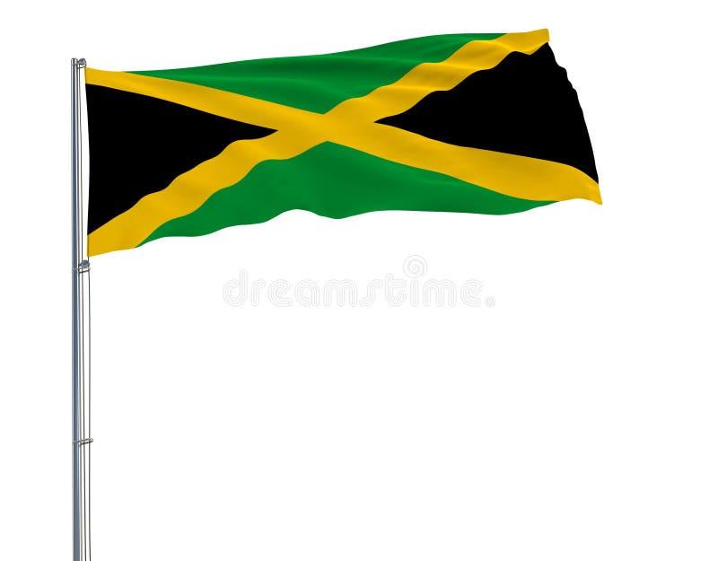 牙买加的旗子振翼在白色背景, 3d的风的旗杆的翻译 皇族释放例证