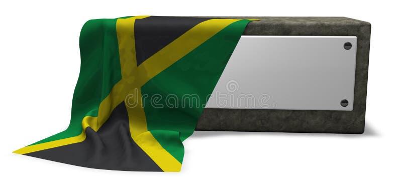 牙买加的石插口和旗子 库存例证