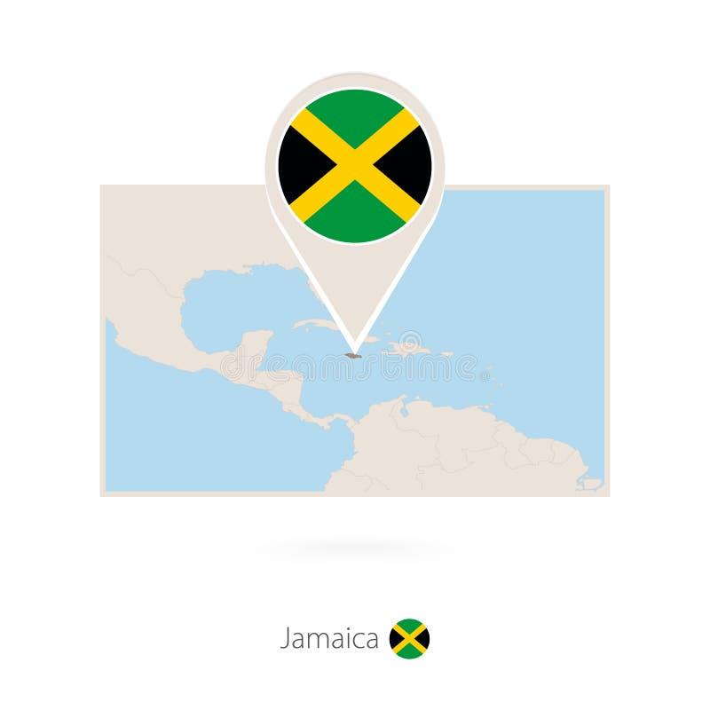 牙买加的长方形地图有牙买加的别针象的 向量例证