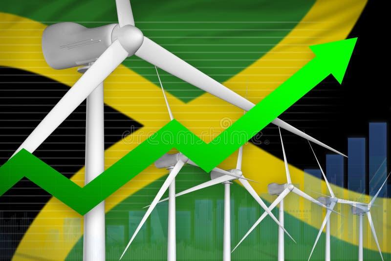 牙买加风能力量上升的图,-环境自然能工业例证的箭头 3d?? 向量例证