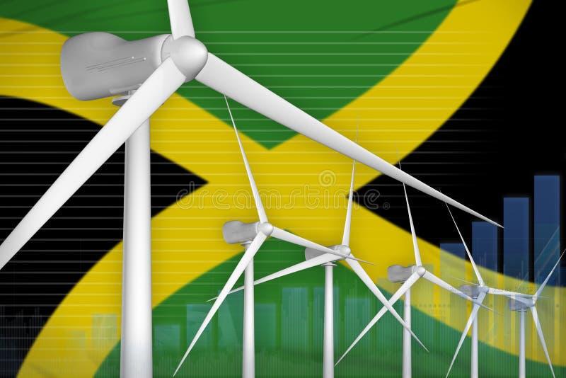 牙买加风能力量数字图表概念-现代自然能工业例证 3d?? 向量例证