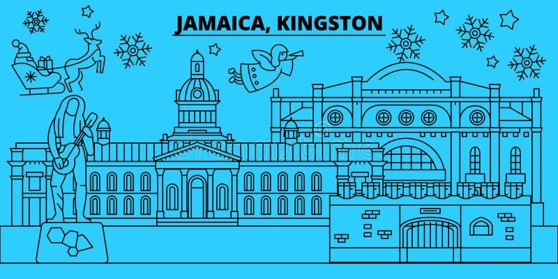 牙买加,金斯敦寒假地平线 圣诞快乐,新年快乐装饰了与圣诞老人的横幅 牙买加 库存例证