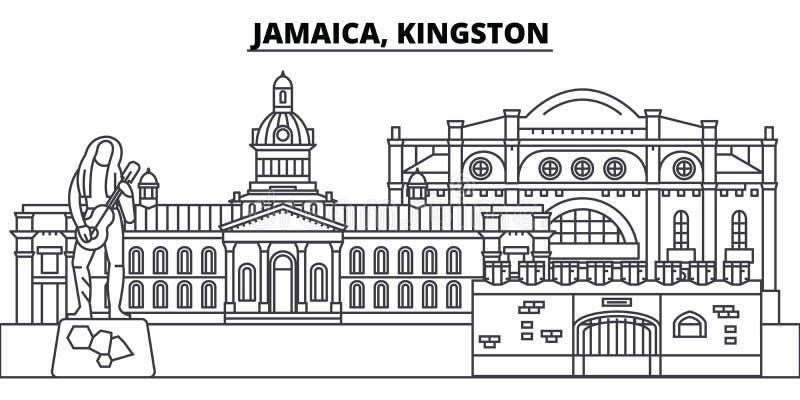牙买加,金斯敦线地平线传染媒介例证 与著名地标的牙买加,金斯敦线性都市风景,城市 皇族释放例证