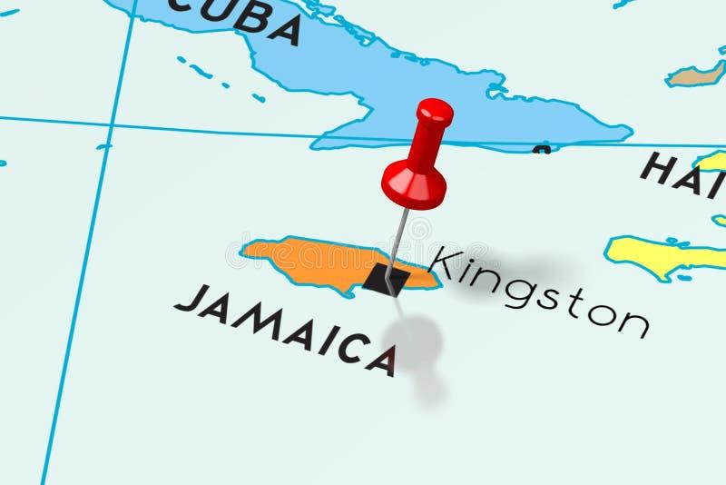 牙买加,金斯敦-首都,别住在政治地图 皇族释放例证