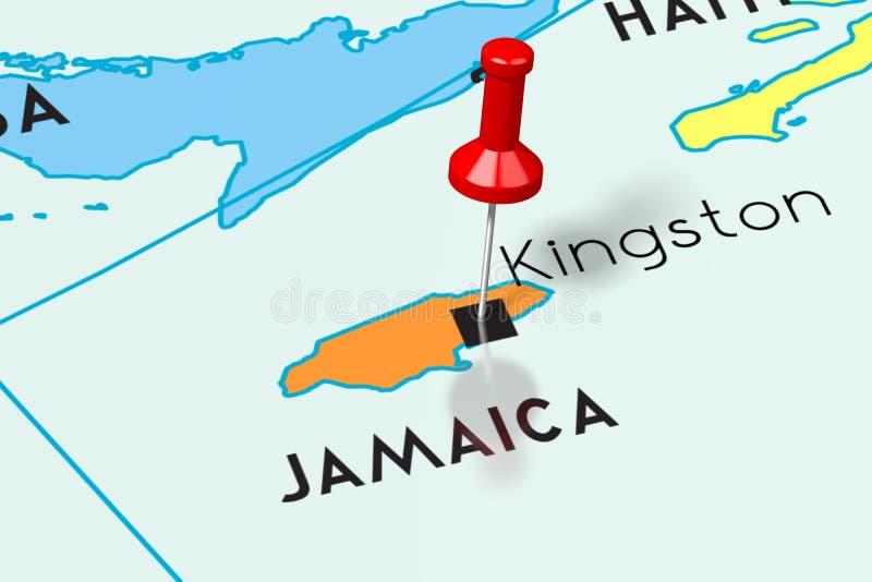 牙买加,金斯敦-首都,别住在政治地图 库存例证