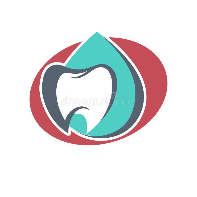 牙传染媒介牙科或牙齿诊所和健康产品的商标模板 白色光亮的牙传染媒介象和 皇族释放例证