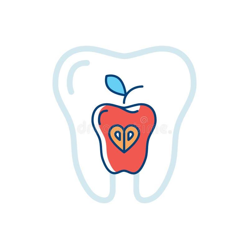 牙健康、象牙和一个红色苹果 健康牙的标志 也corel凹道例证向量 库存例证