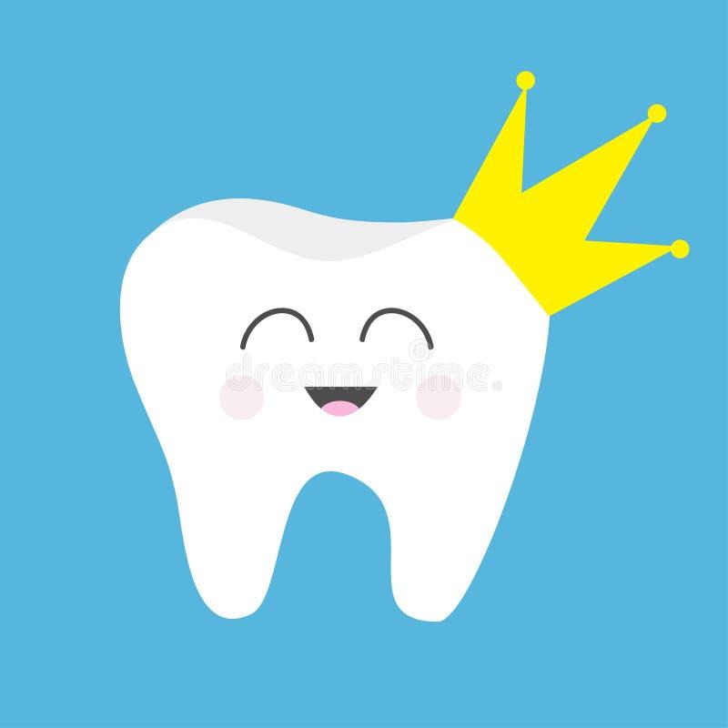 牙健康象黄色冠 逗人喜爱的滑稽的动画片微笑的字符 国王女王/王后王子公主口头牙齿卫生学 儿童发球区域 库存例证