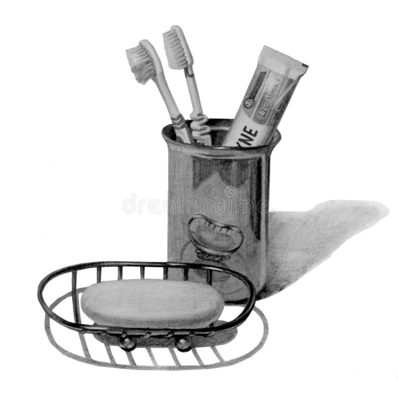 牙刷和牙膏在金属杯子 金属与肥皂的浴皂盒 : 免版税库存照片