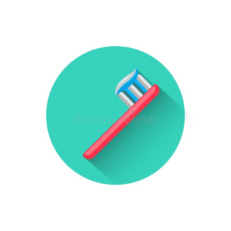 牙刷象,说明在平的设计样式传染媒介例证 牙科现代象  网站和设计为 向量例证