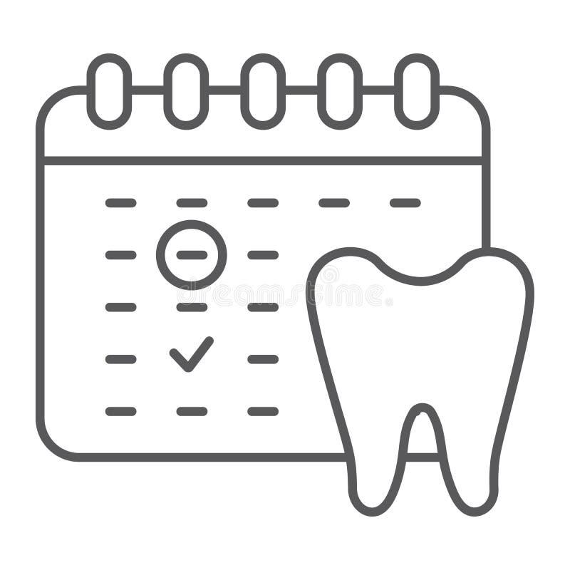 牙医任命稀薄的线象,日程表和牙齿,日历标志,向量图形,在白色的一个线性样式 库存例证