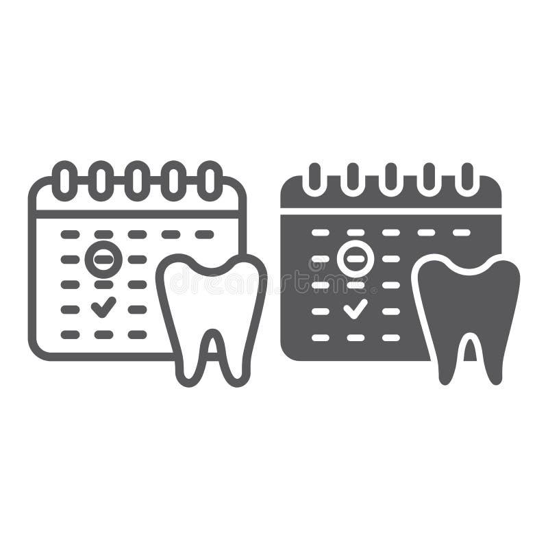 牙医任命线和纵的沟纹象,日程表和牙齿,日历标志,向量图形,在a的一个线性样式 库存例证