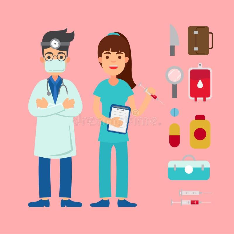 牙医字符和各种各样的设备 库存例证