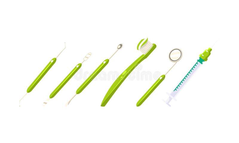 牙医工具箱,牙医疗保健设备,牙刷,注射器,刮板,传染媒介例证 向量例证