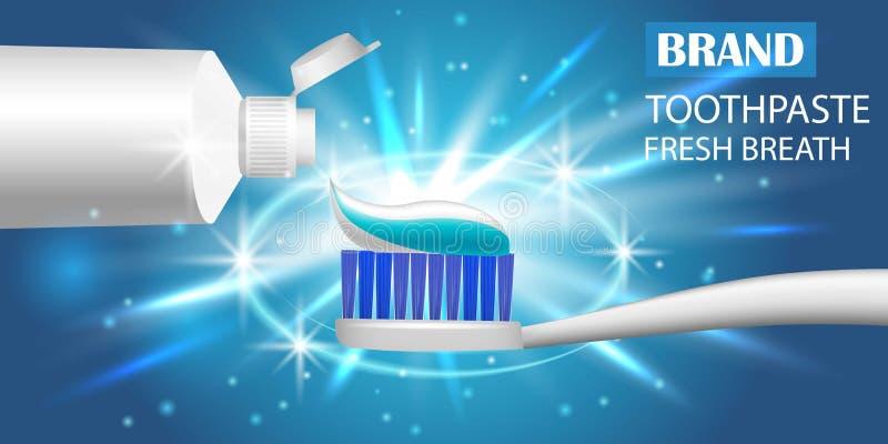 牙医牙刷横幅,现实样式 皇族释放例证