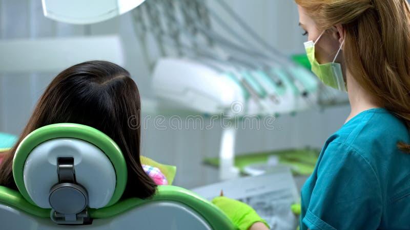 牙医谈话与椅子的患者,解释治疗方法,后面视图 免版税库存照片