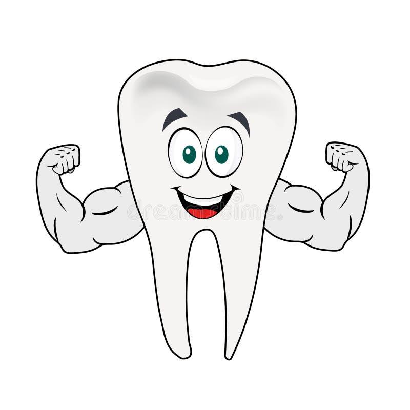 牙吉祥人肌肉人牙齿字符 向量例证
