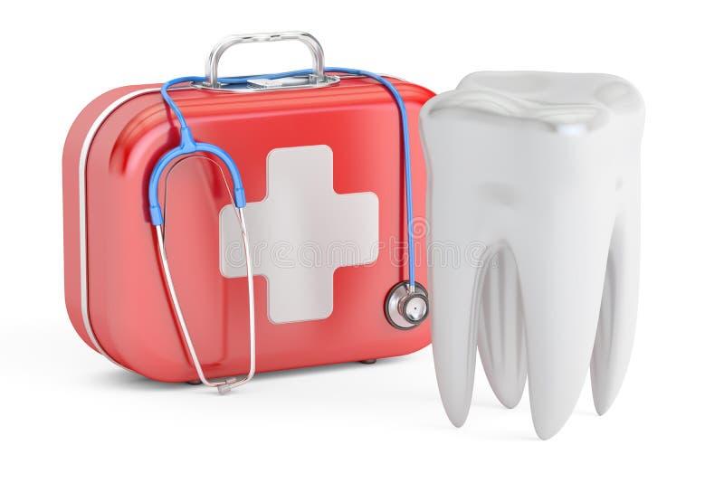 牙和急救工具,牙齿急救概念, 3D翻译 向量例证