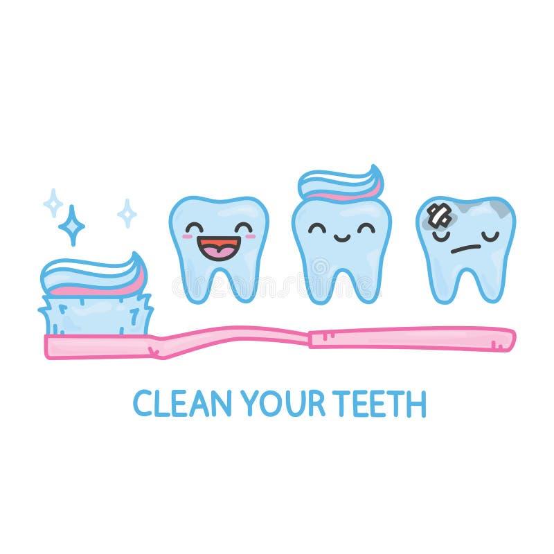 牙和牙刷kawaii动画片传染媒介组装 皇族释放例证