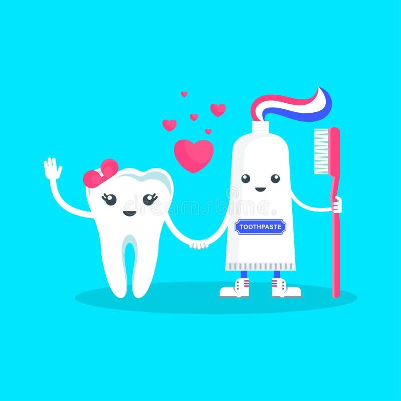 牙和牙膏 向量例证