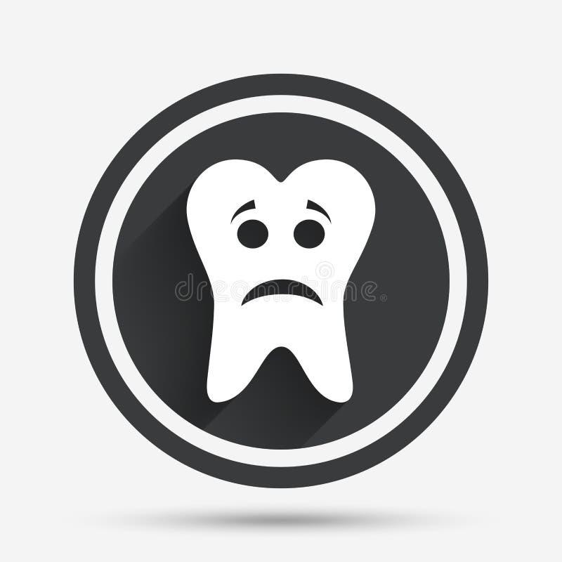 牙哀伤的面孔标志象 酸疼的牙标志 库存例证