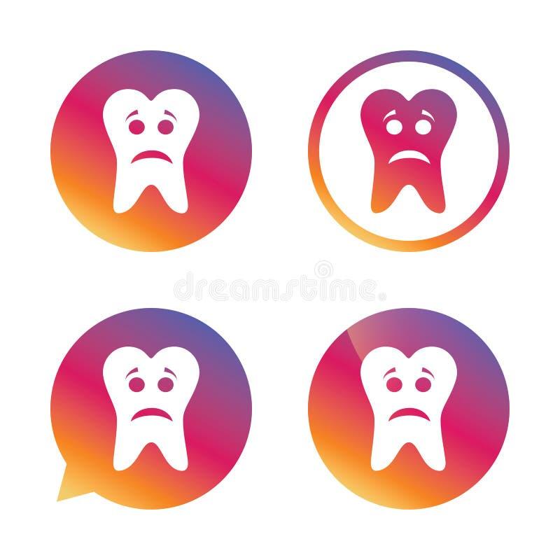 牙哀伤的面孔标志象 酸疼的牙标志 向量例证