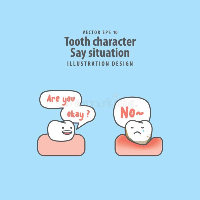 牙字符说在好牙& periodontitis之间的情况 向量例证