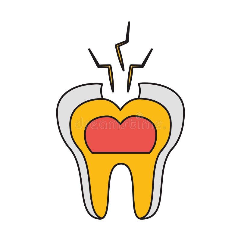 牙残破的牙齿保护 库存例证