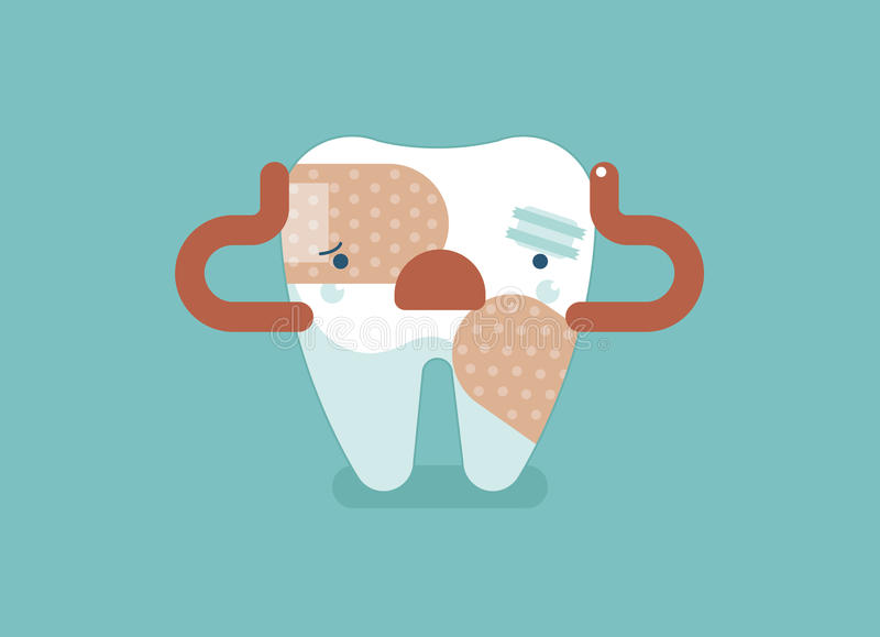牙痛,牙齿概念 皇族释放例证