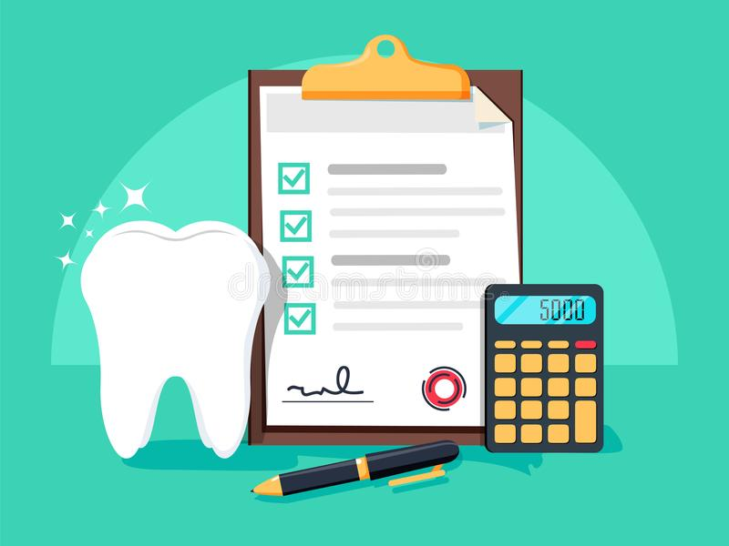 牙科保险,牙齿保护概念 牙科保险形式,牙,计算器,写作平的设计图表元素 向量例证