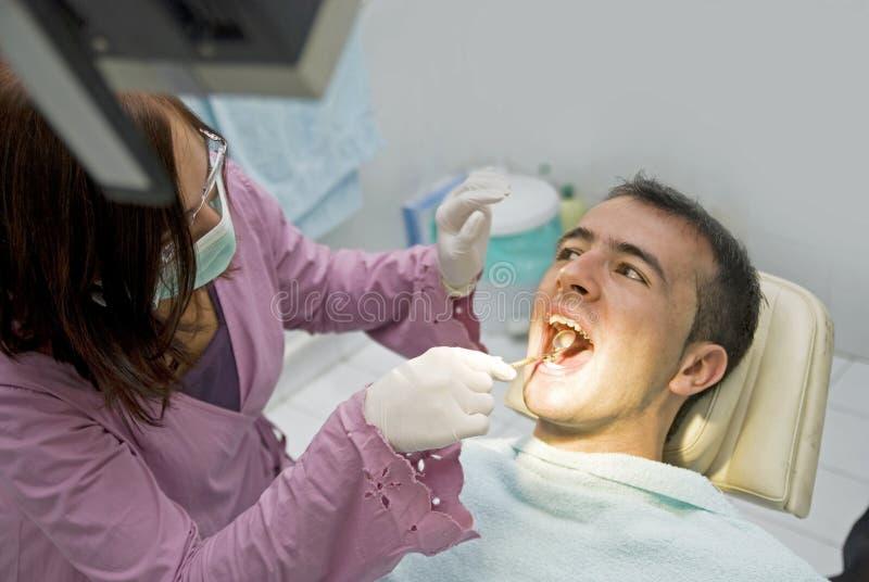 牙科医生痛苦 库存照片