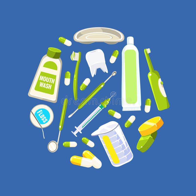 牙科横幅模板,牙科工具和圆形,传染媒介例证的卫生学无缝的样式 皇族释放例证